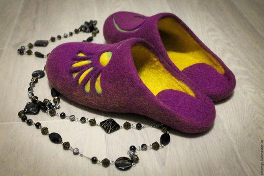 """Обувь ручной работы. Ярмарка Мастеров - ручная работа. Купить Тапочки"""" Вдохновение"""". Handmade. Фиолетовый, авторская ручная работа"""