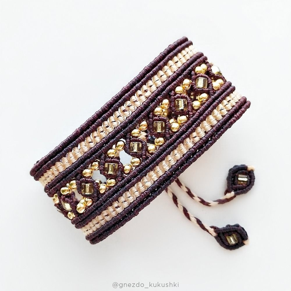 Bracelet with beads brown beige gold wide boho style, Braided bracelet, Kursk,  Фото №1