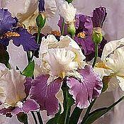 Цветы и флористика handmade. Livemaster - original item Irises. Bouquet of irises/ Handmade flowers from polymer clay. Handmade.
