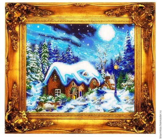 Схема вышивки бисером `Зимний домик`. Полная зашивка бисером