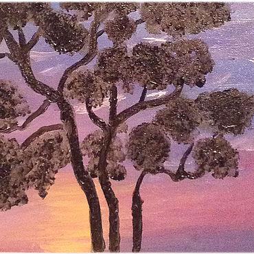 """Картины и панно ручной работы. Ярмарка Мастеров - ручная работа """"Закат на Востоке"""" миниатюра (масло, холст, 18х24). Handmade."""