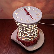 """Часы классические ручной работы. Ярмарка Мастеров - ручная работа Часы-ночник """"Белая шляпа"""". Handmade."""