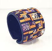 Украшения ручной работы. Ярмарка Мастеров - ручная работа Браслет из полимерной глины - Лоскутное одеяло (оранжевый, бордовый). Handmade.