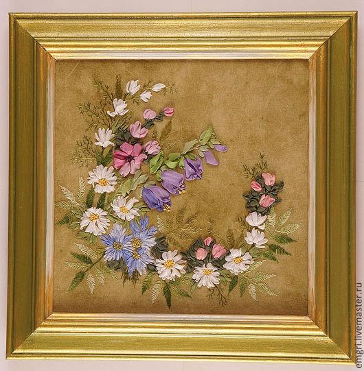 Картины цветов ручной работы. Ярмарка Мастеров - ручная работа. Купить Картина вышитая лентами Полевые цветы (скидка 10%). Handmade.