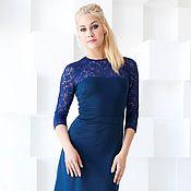 Одежда handmade. Livemaster - original item Dress blue dress with lace, and Jersey dress. Handmade.