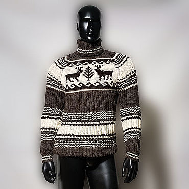 Clothing. Livemaster - original item Wool knitted sweater with deer. Handmade.