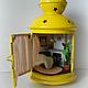"""Кукольный дом ручной работы. Ярмарка Мастеров - ручная работа. Купить Румбокс в фонарике """"Камин"""". Handmade. Желтый, уют, бисер"""