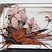 Картины и панно handmade. Livemaster - original item Volume picture of Lily skin. Panels of leather.. Handmade.