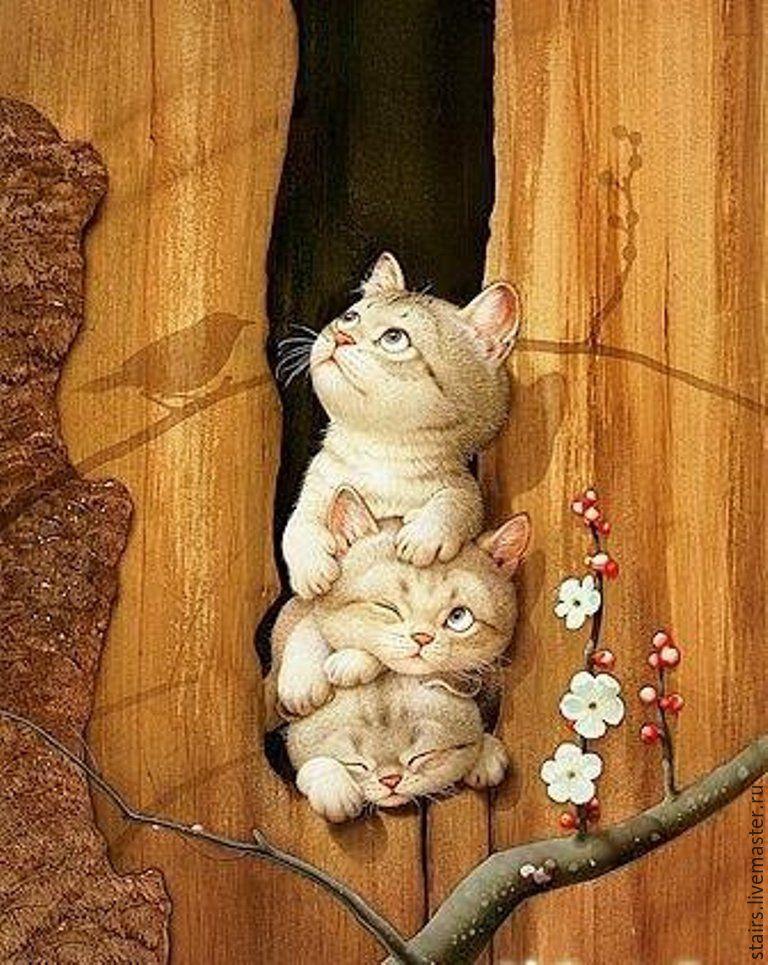 Нарисованные картинки с кошками смешные и прикольные