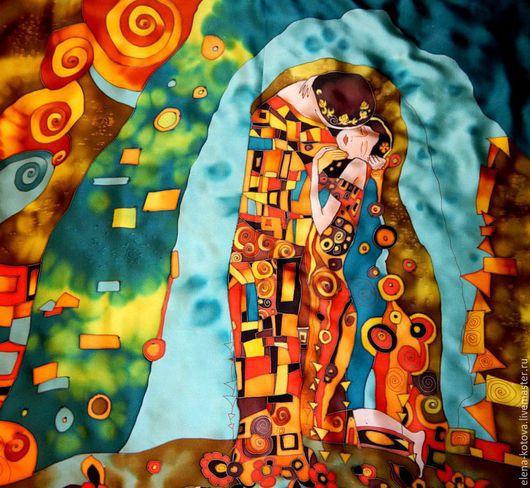 """Шали, палантины ручной работы. Ярмарка Мастеров - ручная работа. Купить Платок батик """"А-ля поцелуй Климта"""". Handmade."""