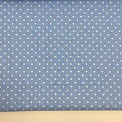Материалы для творчества ручной работы. Ярмарка Мастеров - ручная работа 100% хлопок, Польша, горошки на голубом фоне 4 мм. Handmade.
