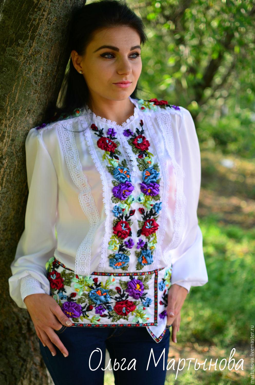 Вышивка лентами блузок