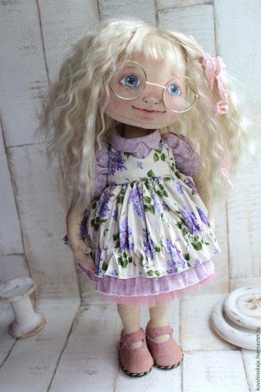 Коллекционные куклы ручной работы. Ярмарка Мастеров - ручная работа. Купить Текстильная кукла Дуня в сиреневом платье. Handmade.