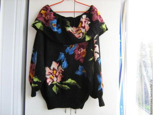 Кофты и свитера ручной работы. Ярмарка Мастеров - ручная работа. Купить чёрный свитер с розами. Handmade. Черный, длинный свите