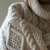 Одежда ручной работы. Ярмарка Мастеров - ручная работа Свитер белый с косами и длинным воротом. Handmade.