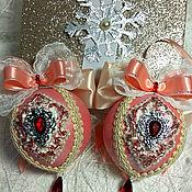 """Елочные игрушки ручной работы. Ярмарка Мастеров - ручная работа Новогодние шары """"Королевский набор"""". Handmade."""