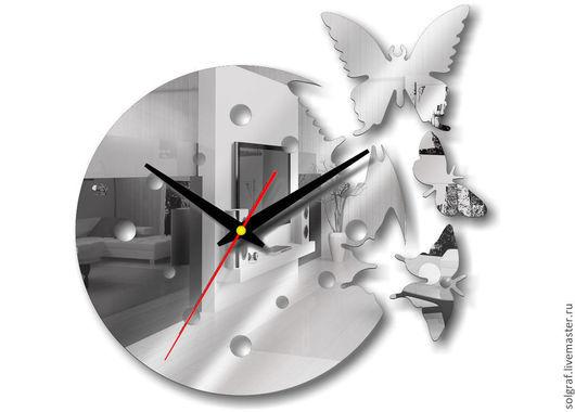 """Часы для дома ручной работы. Ярмарка Мастеров - ручная работа. Купить Часы """"Порхающие бабочки"""" зеркальные. Handmade. Серебряный"""