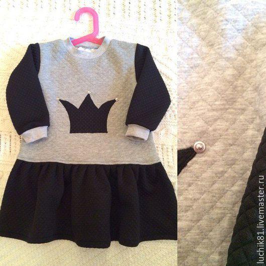 Одежда для девочек, ручной работы. Ярмарка Мастеров - ручная работа. Купить Платье корона. Handmade. Чёрно-белый, рисунок