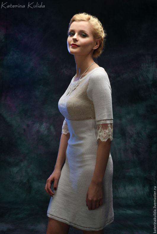 Платья ручной работы. Ярмарка Мастеров - ручная работа. Купить Нежное белое платье. Handmade. Белый, Светлое платье, кружево