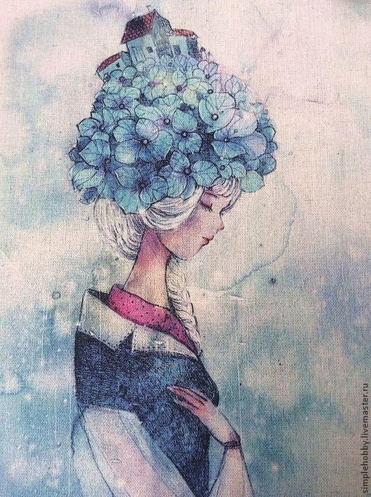 """Шитье ручной работы. Ярмарка Мастеров - ручная работа. Купить Купон лен """"Девочка в синем"""". Handmade. Лен, купон, печать"""