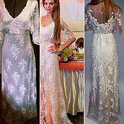 Свадебный салон handmade. Livemaster - original item Wedding dress in the Empire style, lace, embroidery.. Handmade.