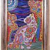 """Картины и панно ручной работы. Ярмарка Мастеров - ручная работа """"Лунный кот"""" Авторская работа. Витражная роспись стекла. Handmade."""