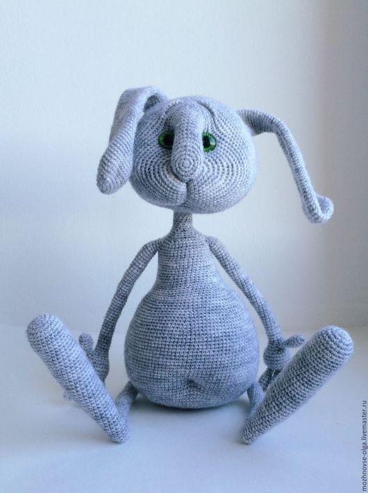 Игрушки животные, ручной работы. Ярмарка Мастеров - ручная работа. Купить Вязаный заяц Бублик серенький. Handmade. Серый