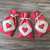 Мешочки с сердечком, коралловый лен, 8х14 см.