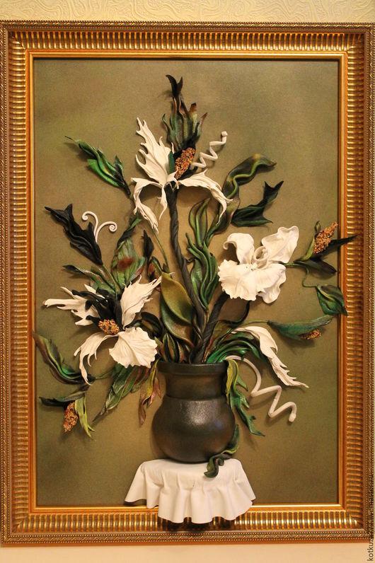 Картины цветов ручной работы. Ярмарка Мастеров - ручная работа. Купить Фантазийные цветы №1. Handmade. Белые цветы, из кожи