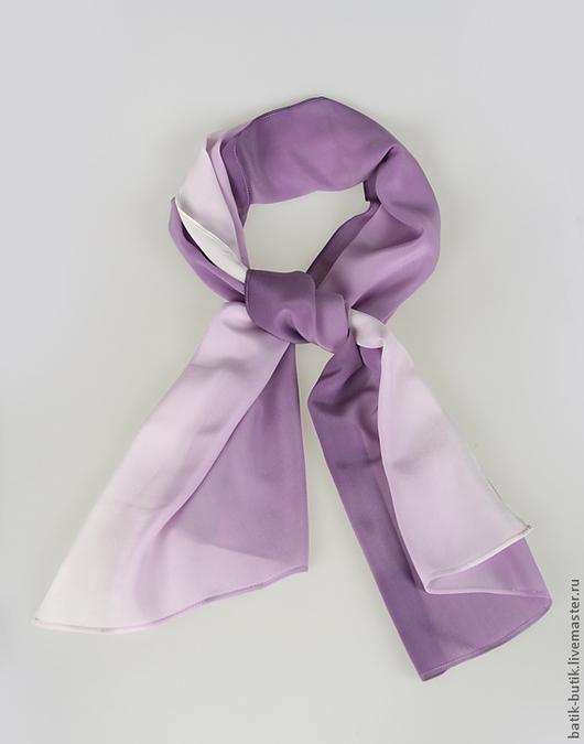 """Шарфы и шарфики ручной работы. Ярмарка Мастеров - ручная работа. Купить Шелковый шарф """"Фиолетовая нежность"""". Батик, натуральный шелк.. Handmade."""