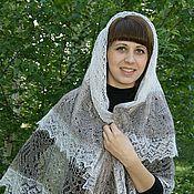 Аксессуары ручной работы. Ярмарка Мастеров - ручная работа 39 пуховая паутинка платок  двухцветная , оренбургский платок. Handmade.
