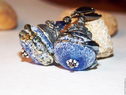 """Серьги ручной работы. Ярмарка Мастеров - ручная работа. Купить """"Cobalt Stones"""". Handmade. Тёмно-синий, подарок женщине"""