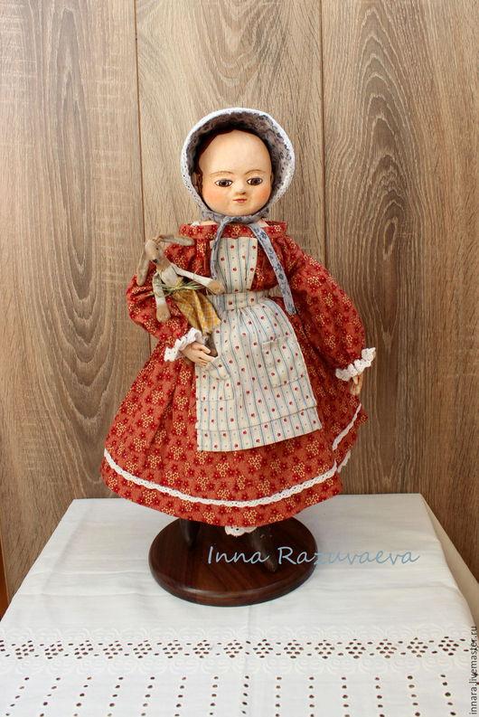 Коллекционные куклы ручной работы. Ярмарка Мастеров - ручная работа. Купить Кристи. Кукла в стиле Izannah Walker. Handmade. Бордовый