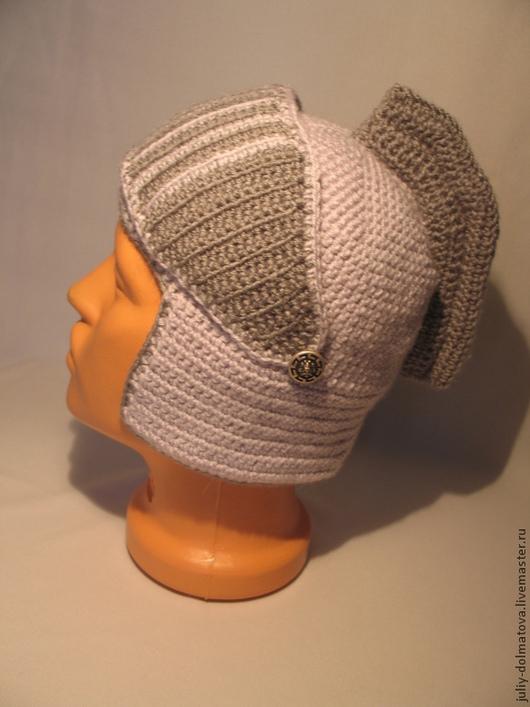 Шапки и шарфы ручной работы. Ярмарка Мастеров - ручная работа. Купить Шапка Шлем №7. Handmade. Серый, шапка с ушками