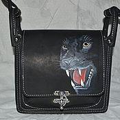 Сумки и аксессуары ручной работы. Ярмарка Мастеров - ручная работа сумка кожаная  с головой пантеры. Handmade.