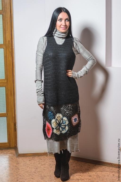 """Платья ручной работы. Ярмарка Мастеров - ручная работа. Купить Двойка""""кКалейдоскоп"""". Handmade. Черный, двойная, длинное платье, вискоза Германия"""
