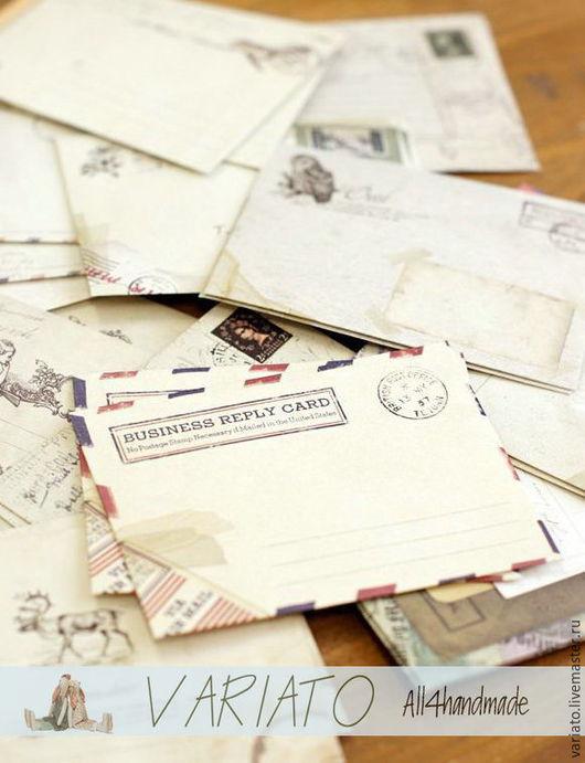 Подарочная упаковка ручной работы. Ярмарка Мастеров - ручная работа. Купить Мини конверт винтаж. Handmade. Бежевый, мини конверт