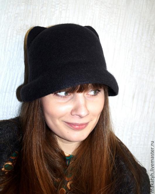 """Шляпы ручной работы. Ярмарка Мастеров - ручная работа. Купить Шляпка """"Kitty"""". Handmade. Черный, шляпка валяная, молодежная мода"""