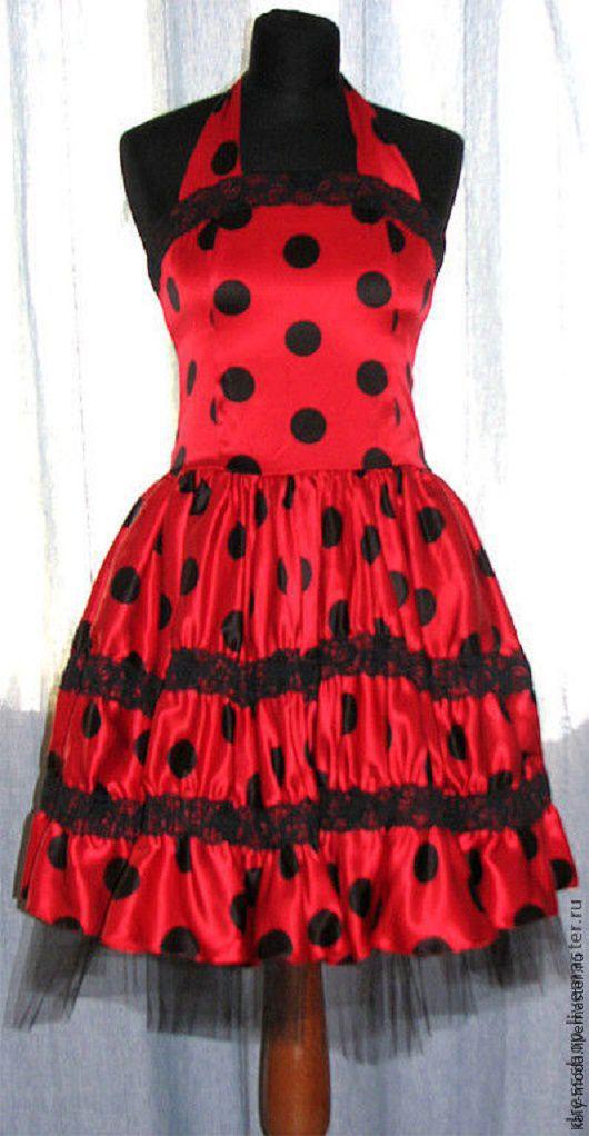 """Платья ручной работы. Ярмарка Мастеров - ручная работа. Купить Платье """"Стиляги - красное в горошек"""". Handmade. Ярко-красный"""