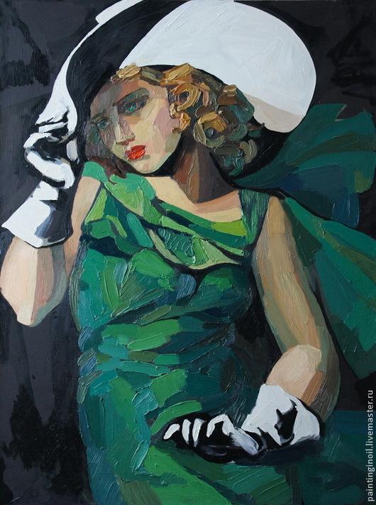 Дама в зеленом.  По мотивам одноименной картины Тамары де Лемпицке размеры: 80х90 изменено: техника (добавлен объёмный мазок), убран задний план готовая работа