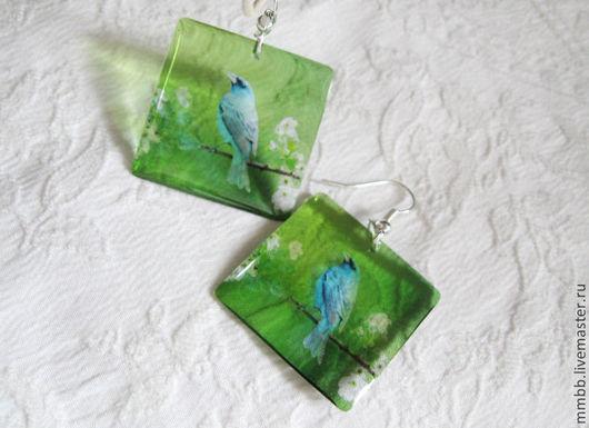 Распродажа Серьги прозрачные Синяя Птица Счастья Голубой Индиго Неон, серьги прозрачные птица с птицей, прозрачные серьги квадратные, подарок девушке женщине, Душевные штуки