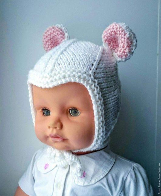 """Для новорожденных, ручной работы. Ярмарка Мастеров - ручная работа. Купить Шапочка вязаная """"Мой мышонок"""". Handmade. Синий, мышка"""