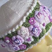 Аксессуары ручной работы. Ярмарка Мастеров - ручная работа шапка женская вязаная с ручной вышивкой Белая Сирень. Handmade.