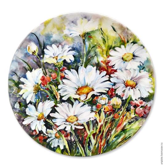 Керамическая тарелка `Ромашковый цвет`. Керамика ручной работы. Ярмарка мастеров.