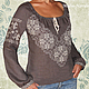 Льняная блуза с ручной вышивкой Дымка. \r\nМодная одежда с ручной вышивкой. \r\nТворческое ателье Modne-Narodne.