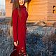 Платья ручной работы. Брусничное  флисовое платье. Elven Forest. Интернет-магазин Ярмарка Мастеров. Однотонный, лесная одежда
