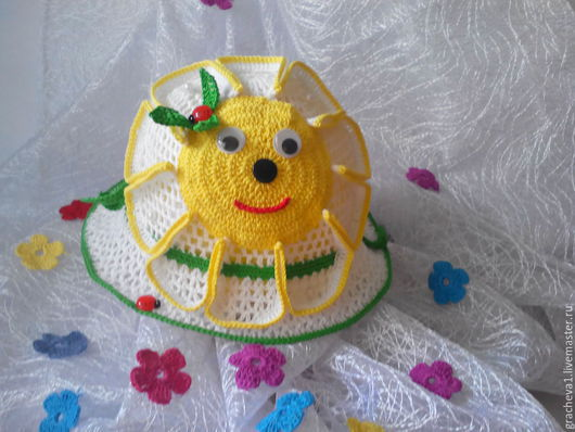 Шапки и шарфы ручной работы. Ярмарка Мастеров - ручная работа. Купить Шляпка детская. Handmade. Ромашка, шляпка летняя, оригинальная