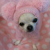 """Вязаный свитерок для маленькой собачки """" Розовое облако """""""