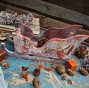 """Подарки к праздникам ручной работы. Ярмарка Мастеров - ручная работа Санки -конфетница """"Зима в Лисьем Лесу"""". Handmade."""
