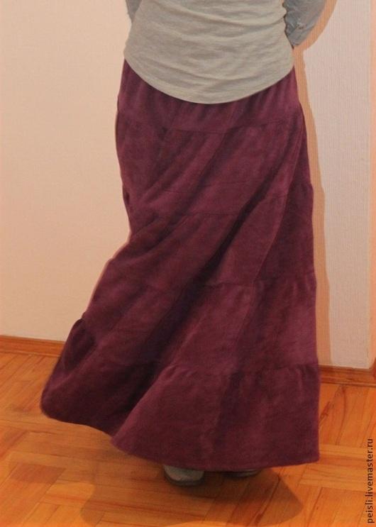 Юбки ручной работы. Ярмарка Мастеров - ручная работа. Купить Юбка длинная вельветовая сиреневая однотонная. Handmade. Длинная юбка